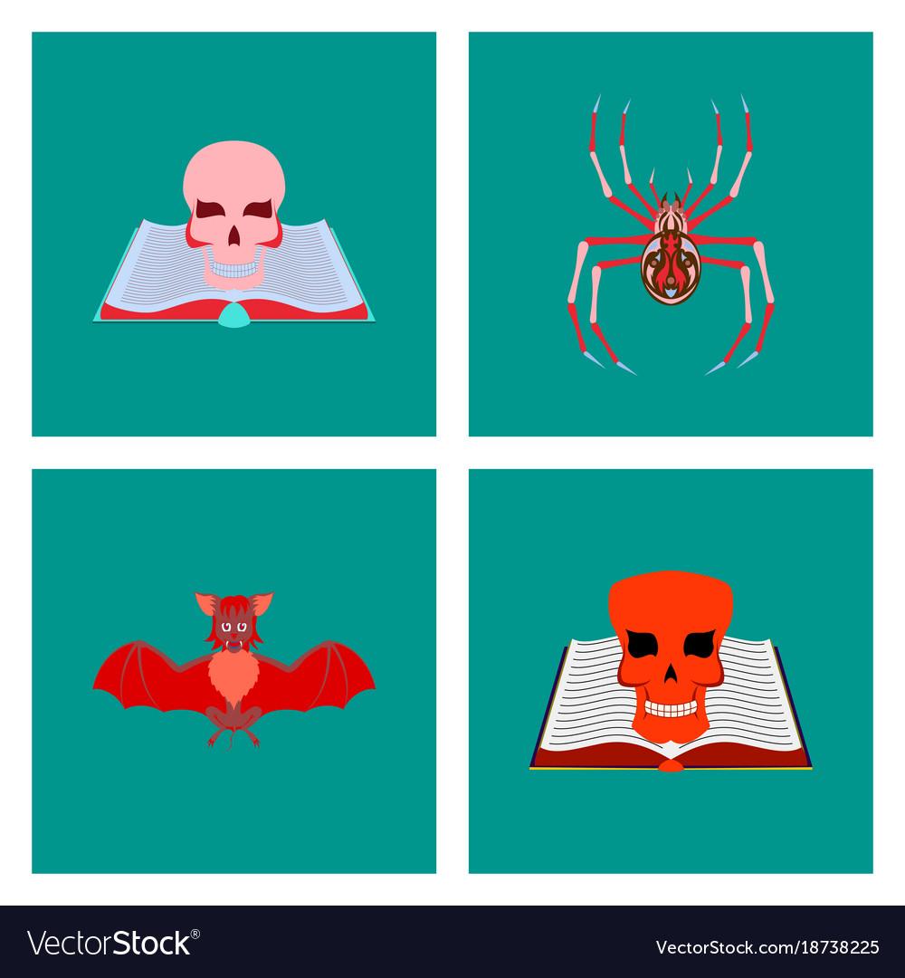 Assembly flat spider bat book skull zombie men vector image