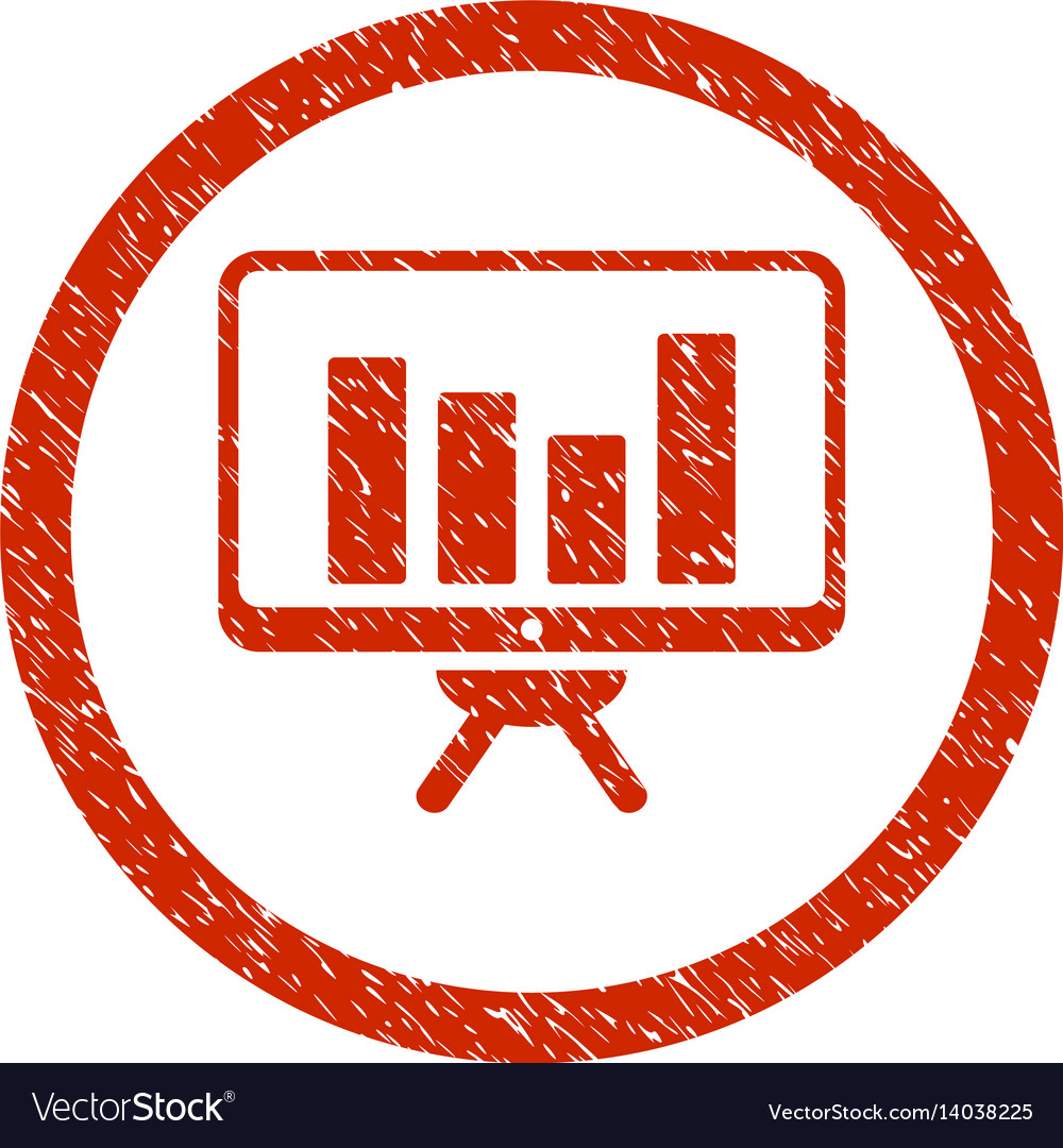 Bar chart monitoring rounded grainy icon vector image