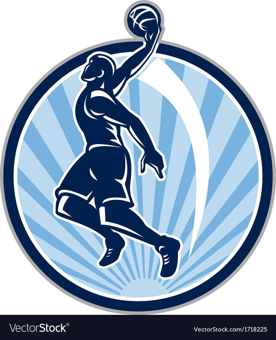 Basketball Player Dunk Ball Retro vector image