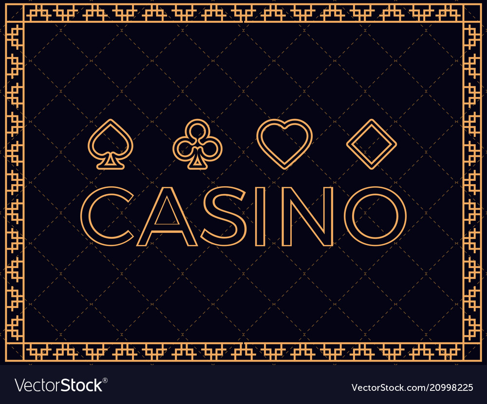 Casino background with art deco frame and card