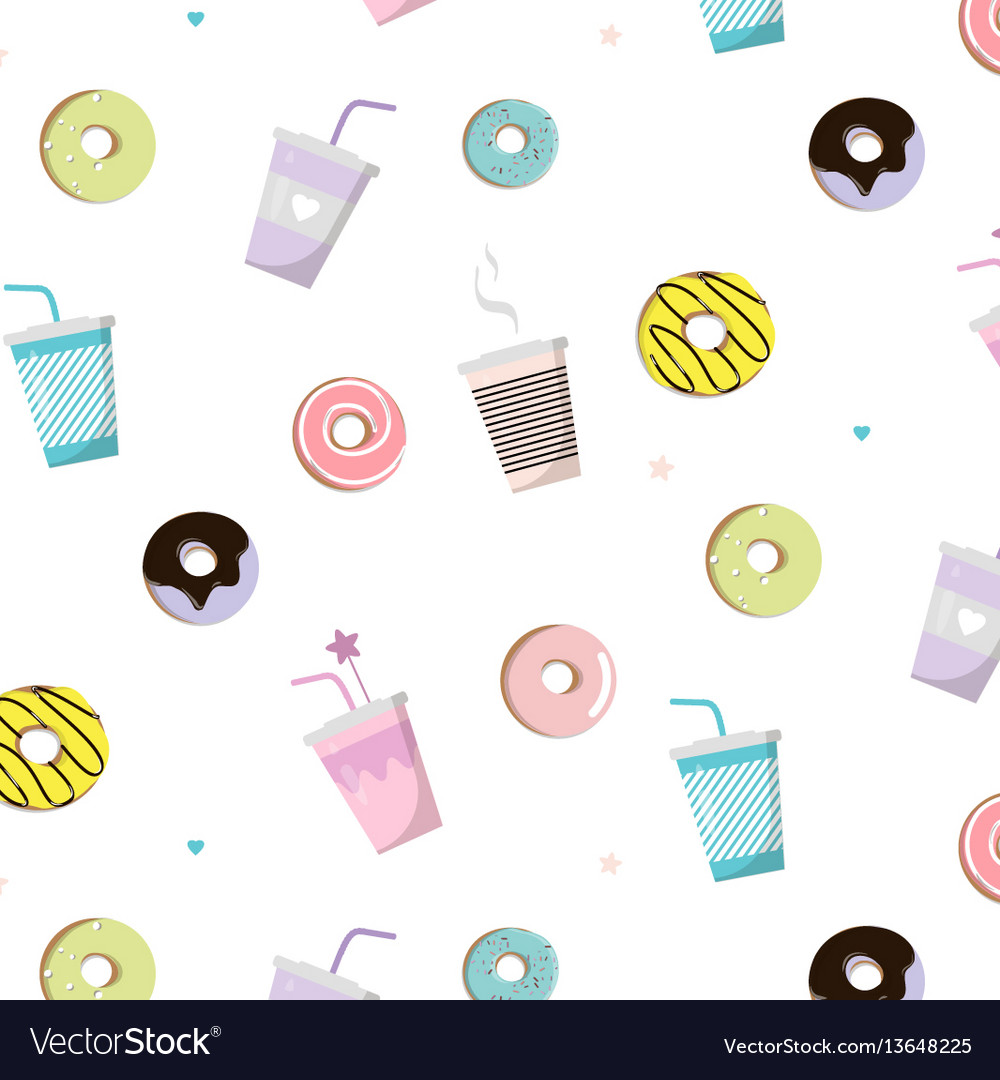 Coffee with donut tasty pattern snack