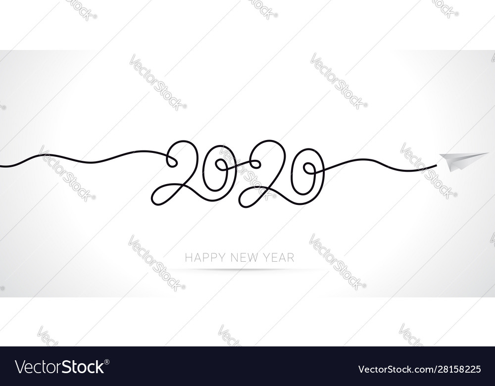 New year 2020 greeting card minimal line art
