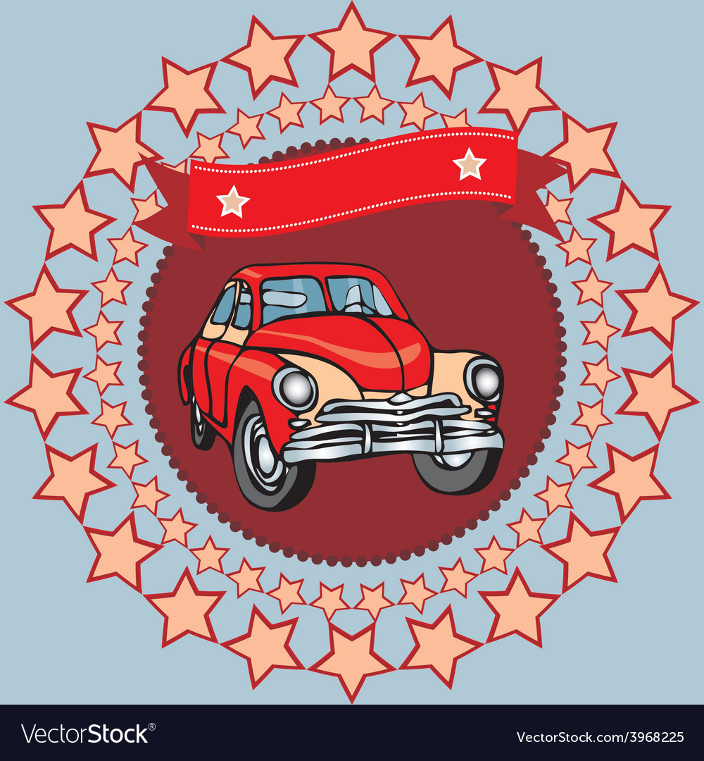 Red vintage car on a gray background with stars