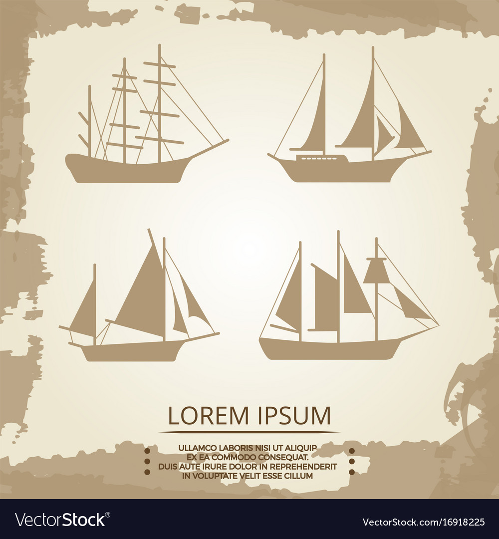 Sailboat or ship icons on vintage background