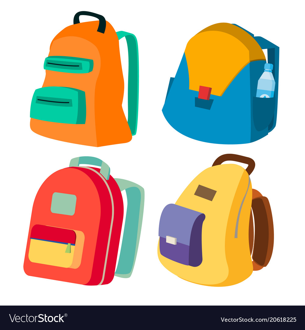 Schoolbag set closed backpacks side view