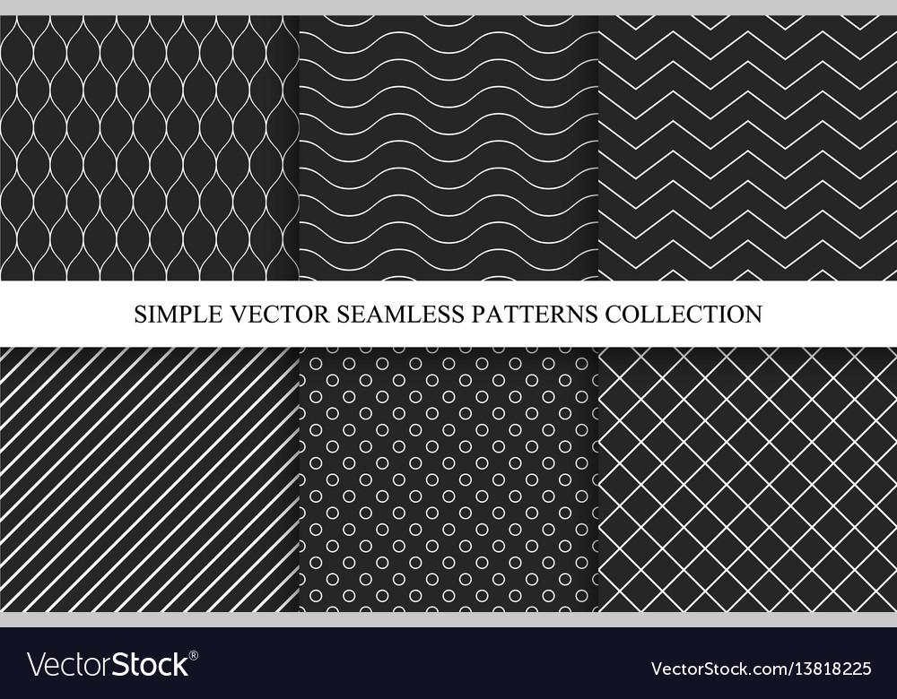 Seamless dark geometric minimalistic patterns