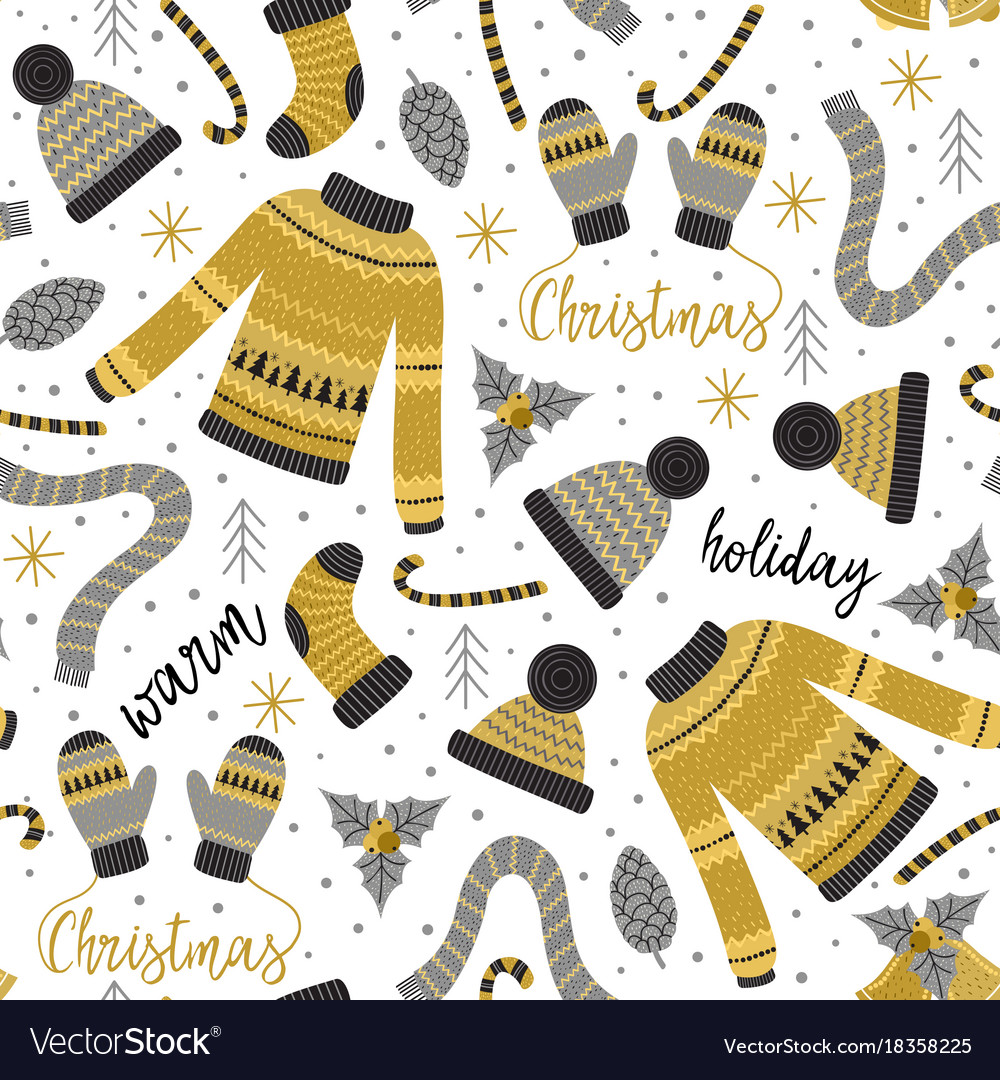 Seamless pattern with gold christmas warm clothes