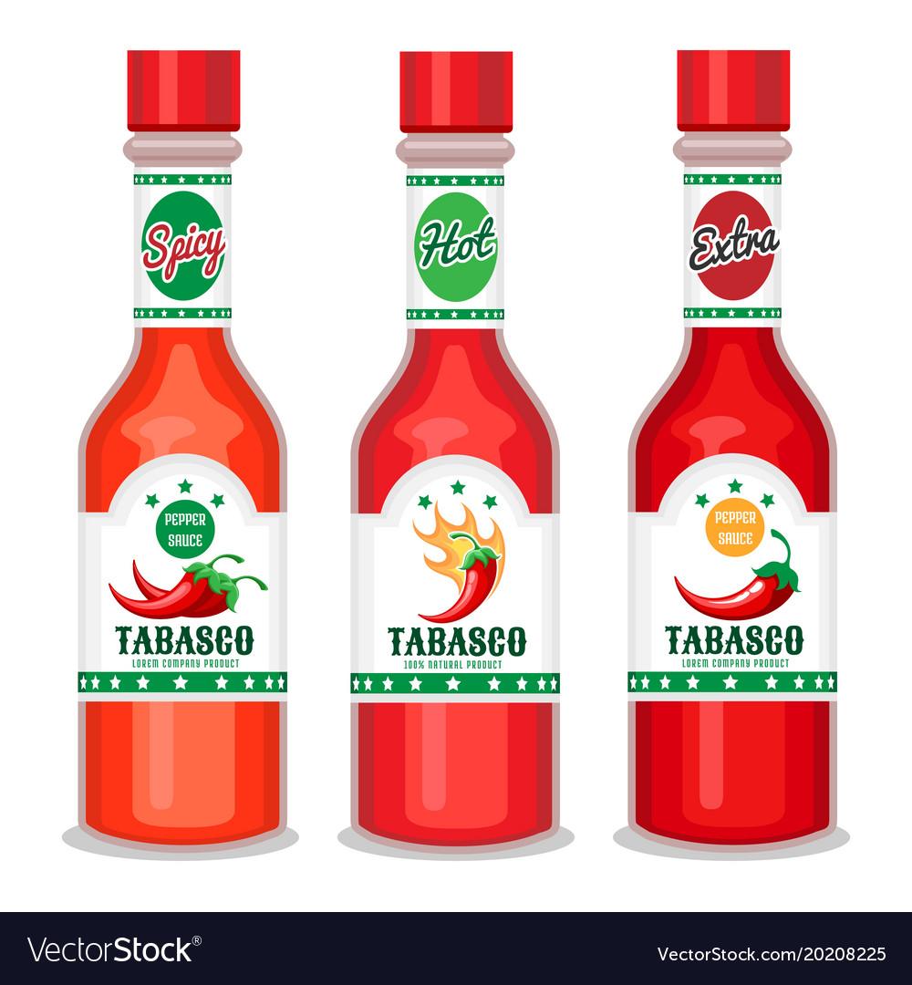 Tabasco sauce bottles set