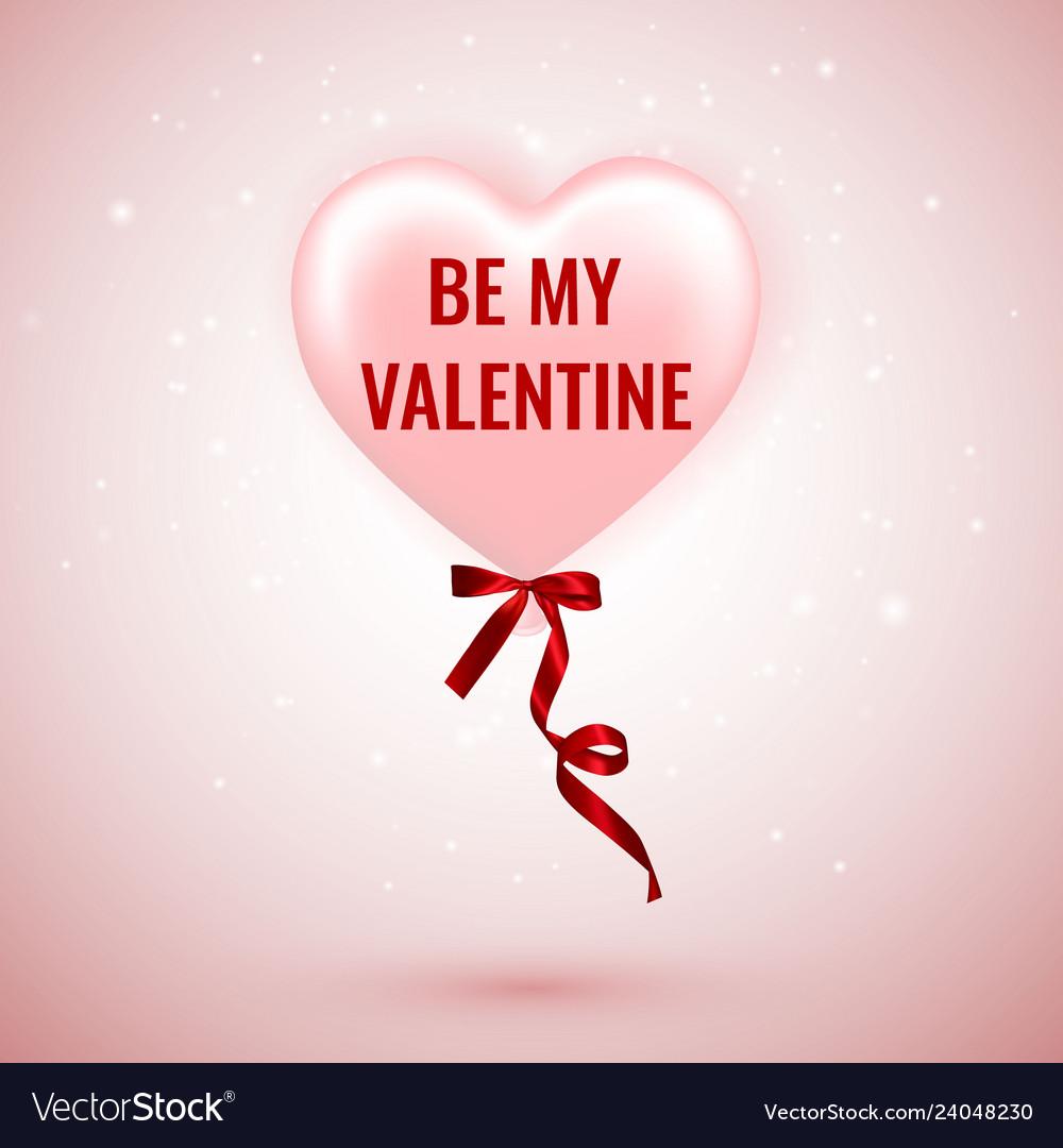 Be my valentine happy valentines day pink balloon