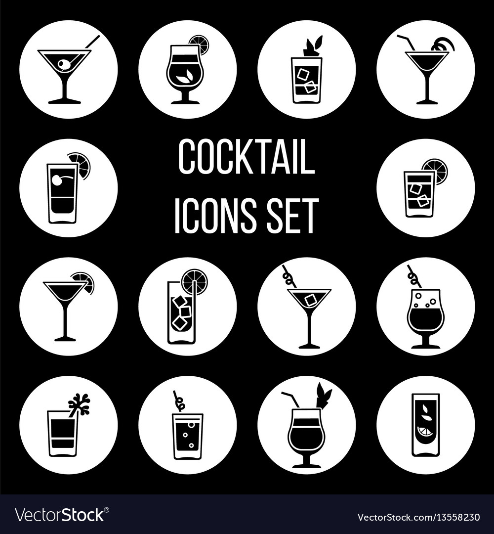 Cocktail icons set in black and white
