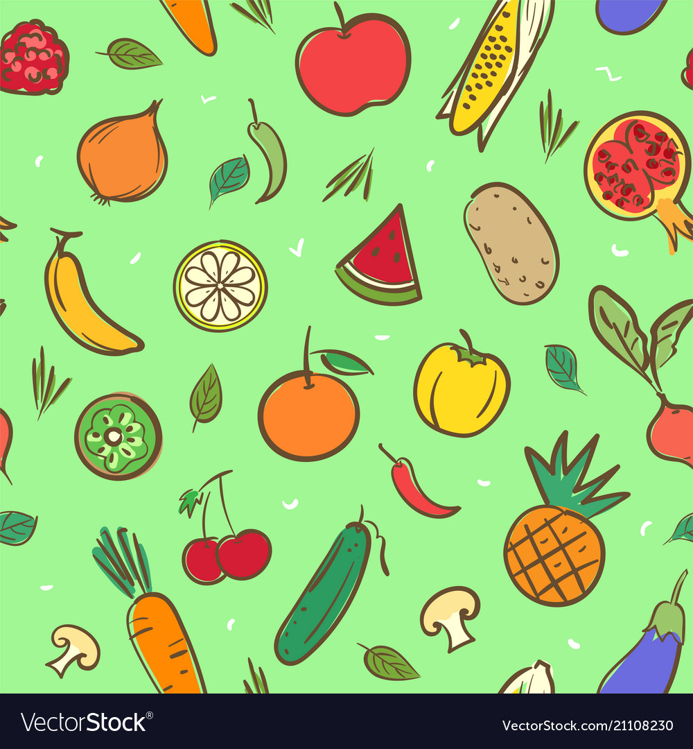 Cute mix fruits and vegetables seamless pattern