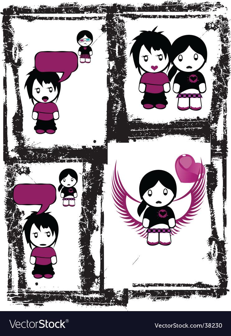 Emo Love Comics Vector. Artist: AZZ; File type: Vector EPS