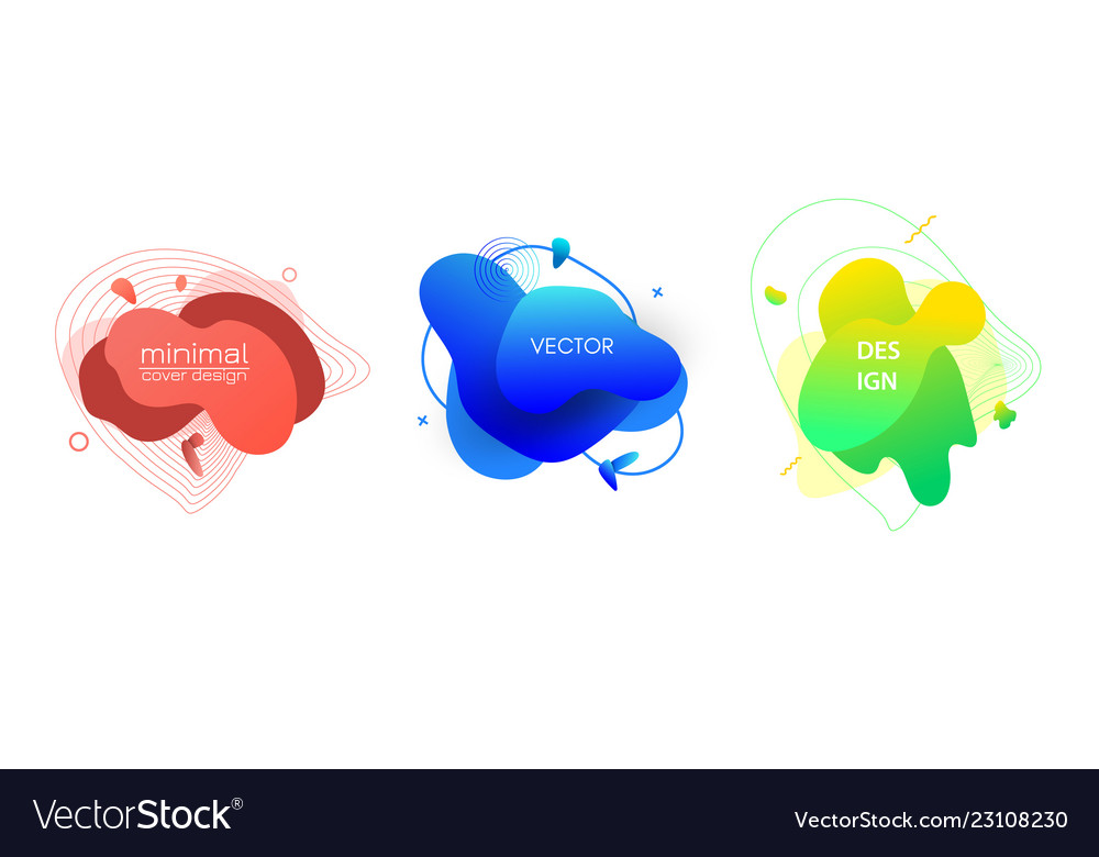 Fluid color badges set abstract shapes
