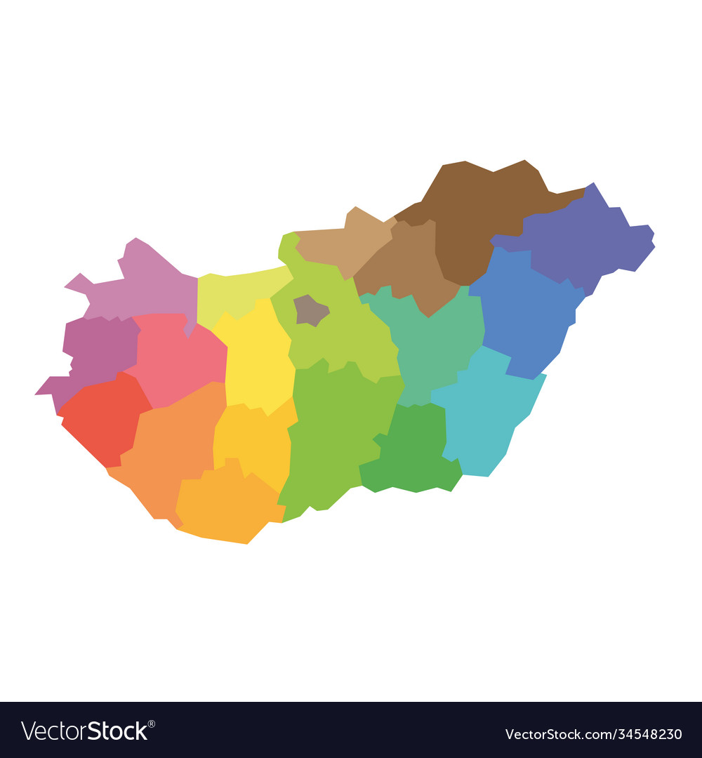 Hungary Map Counties Royalty Free Vector Image