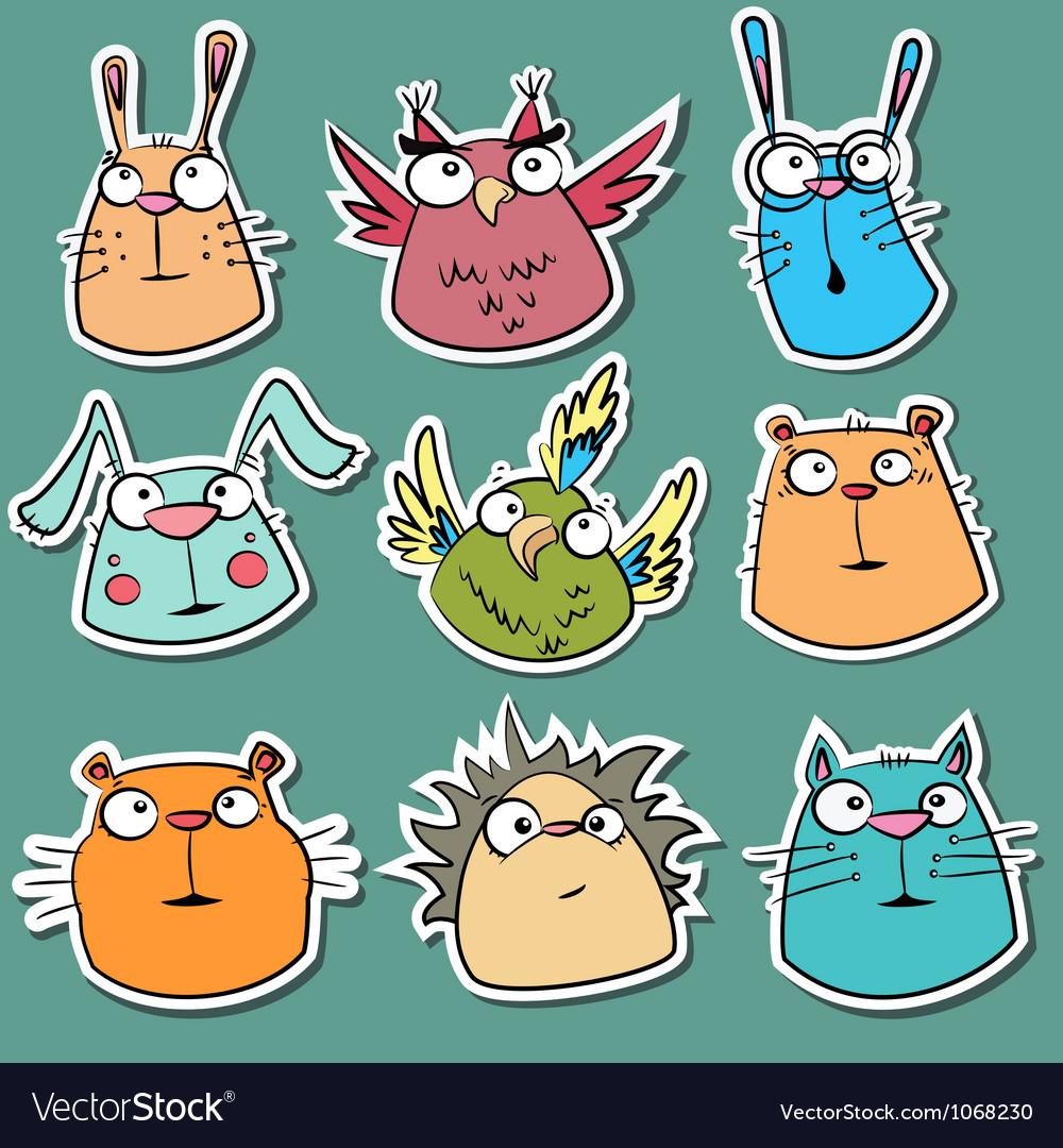 Set funny animal stickers