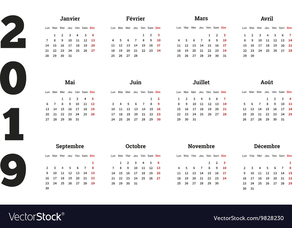 simple calendar on 2019 year in french language vector image