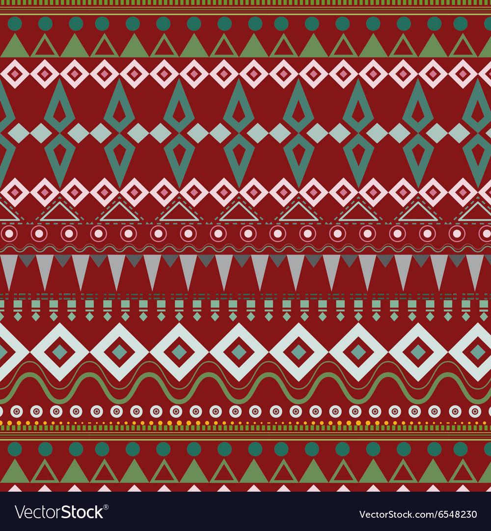 Tribal ethnic seamless stripe pattern on red