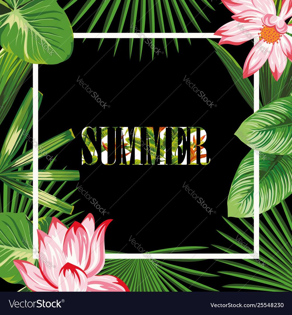 Tropical border slogan summer pink lotus green