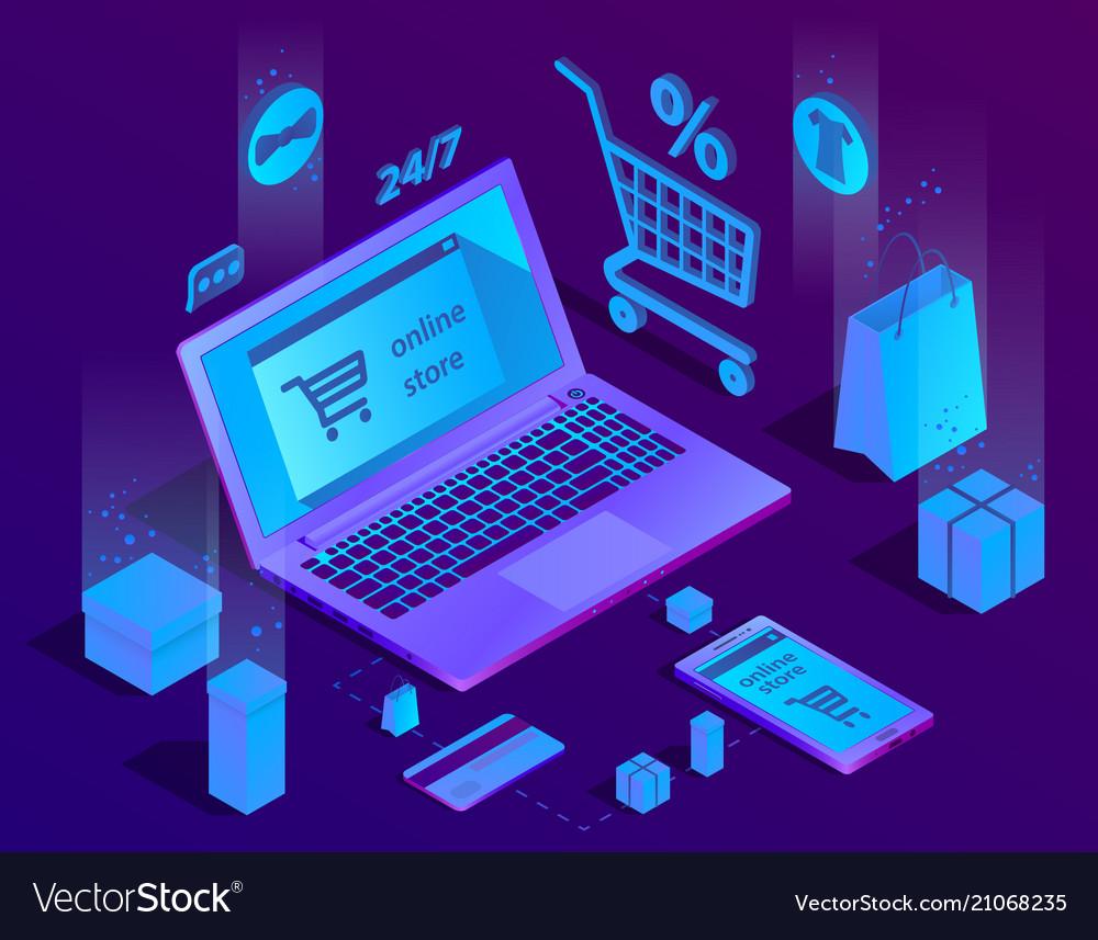 3d isometric e-commerce concept online