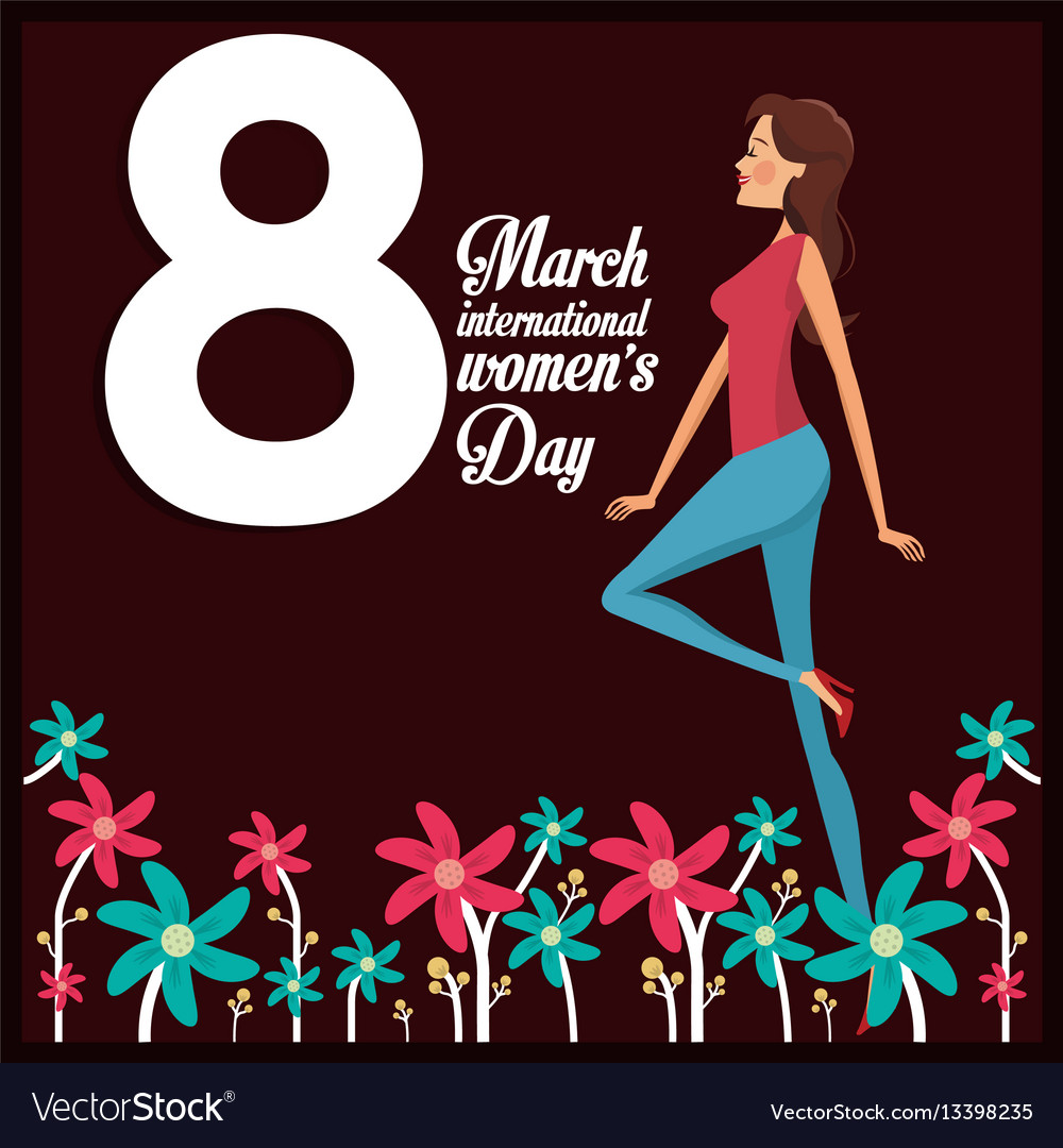 8 march womens day card girl cheerful