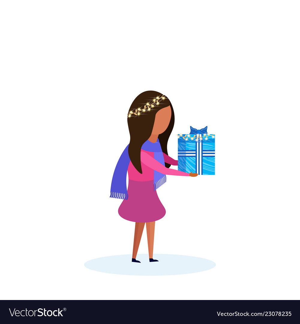 African american girl holding gift box happy new