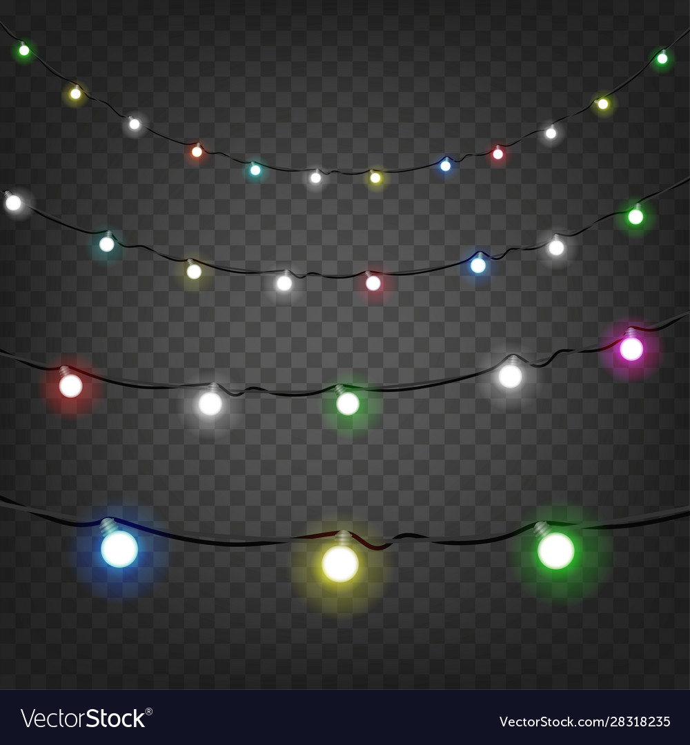 bright christmas lights clipart isolated on vector image vectorstock
