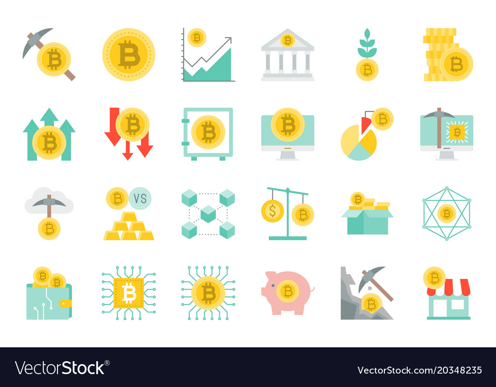 Cryptocurrency concept flat icon set