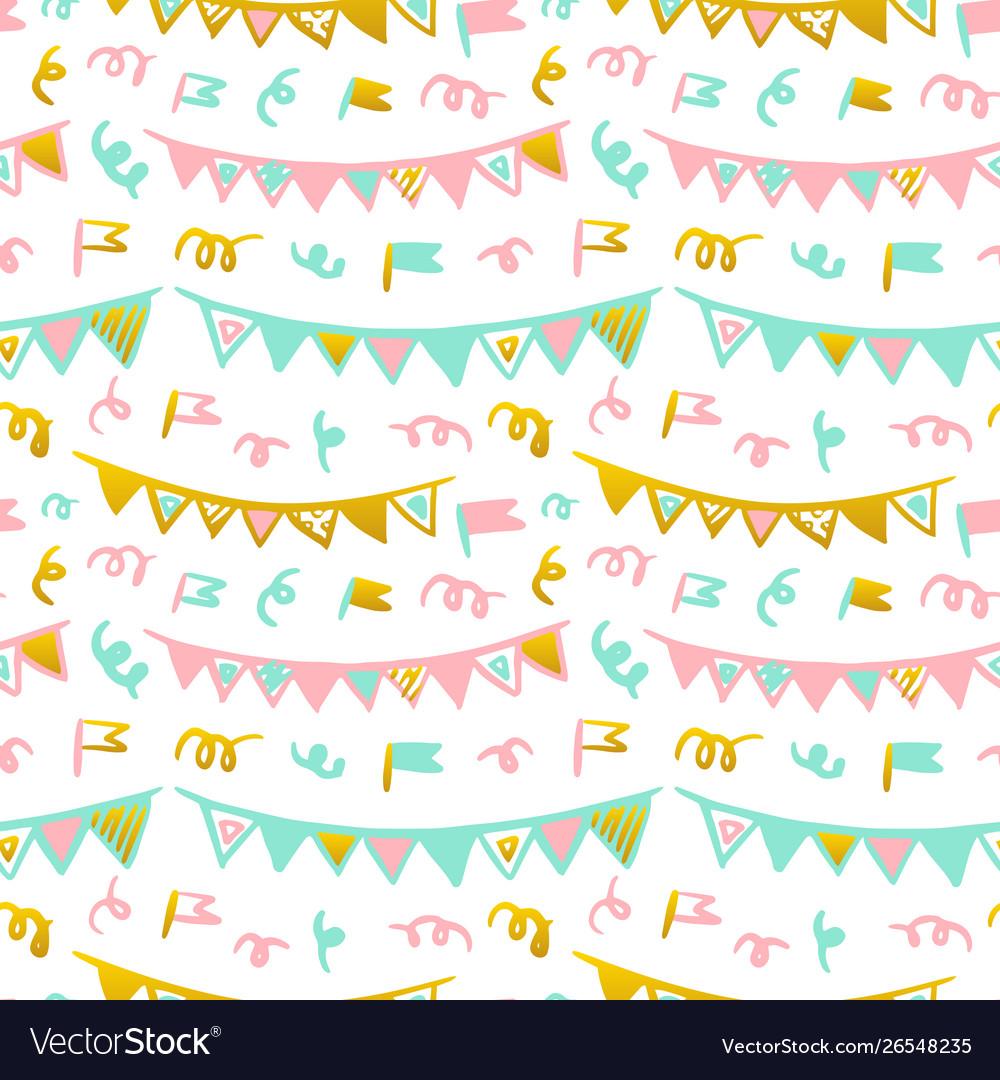 Flags handdrawn seamless pattern