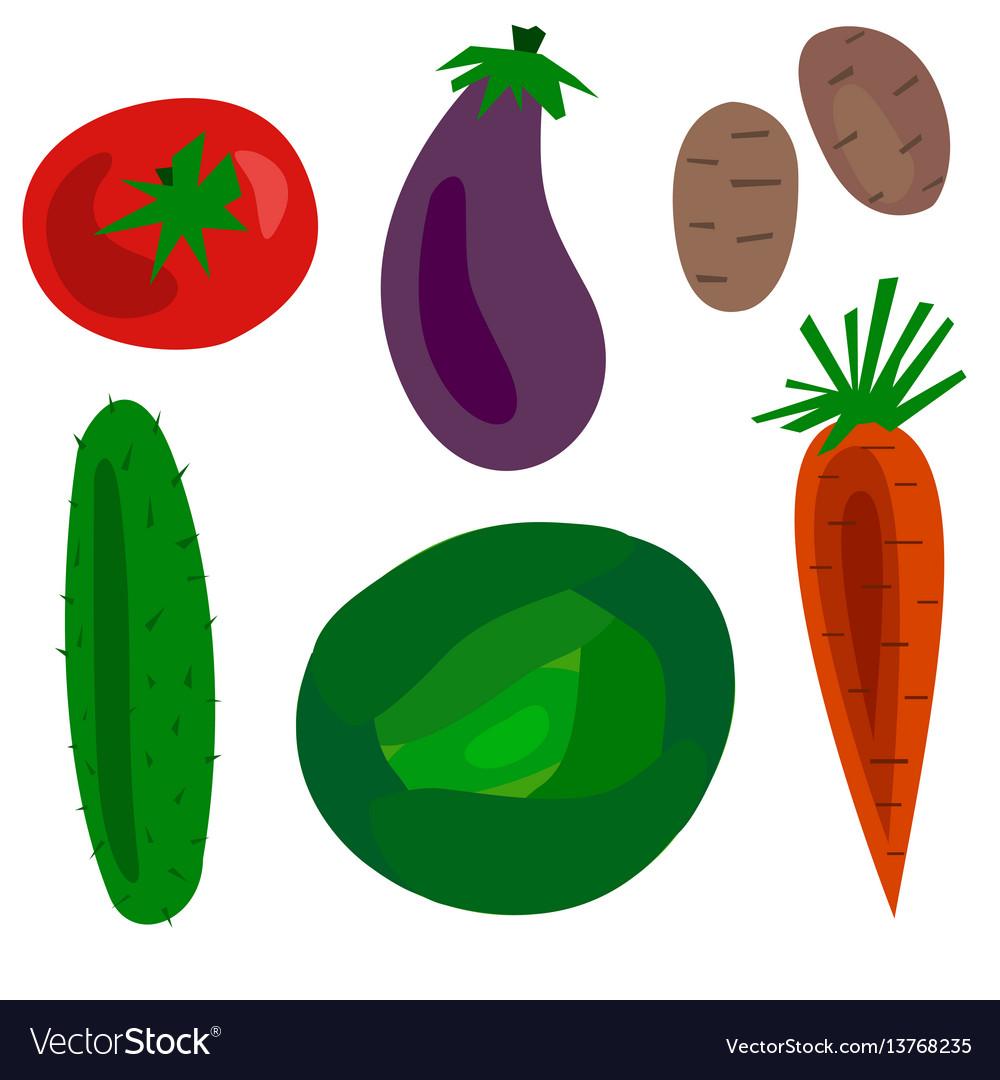 Flat cartoon vegetables set