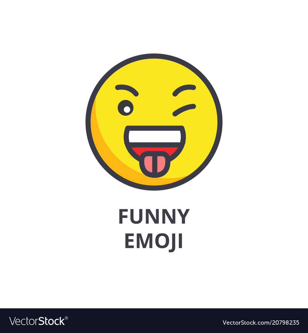 Funny emoji line icon sign