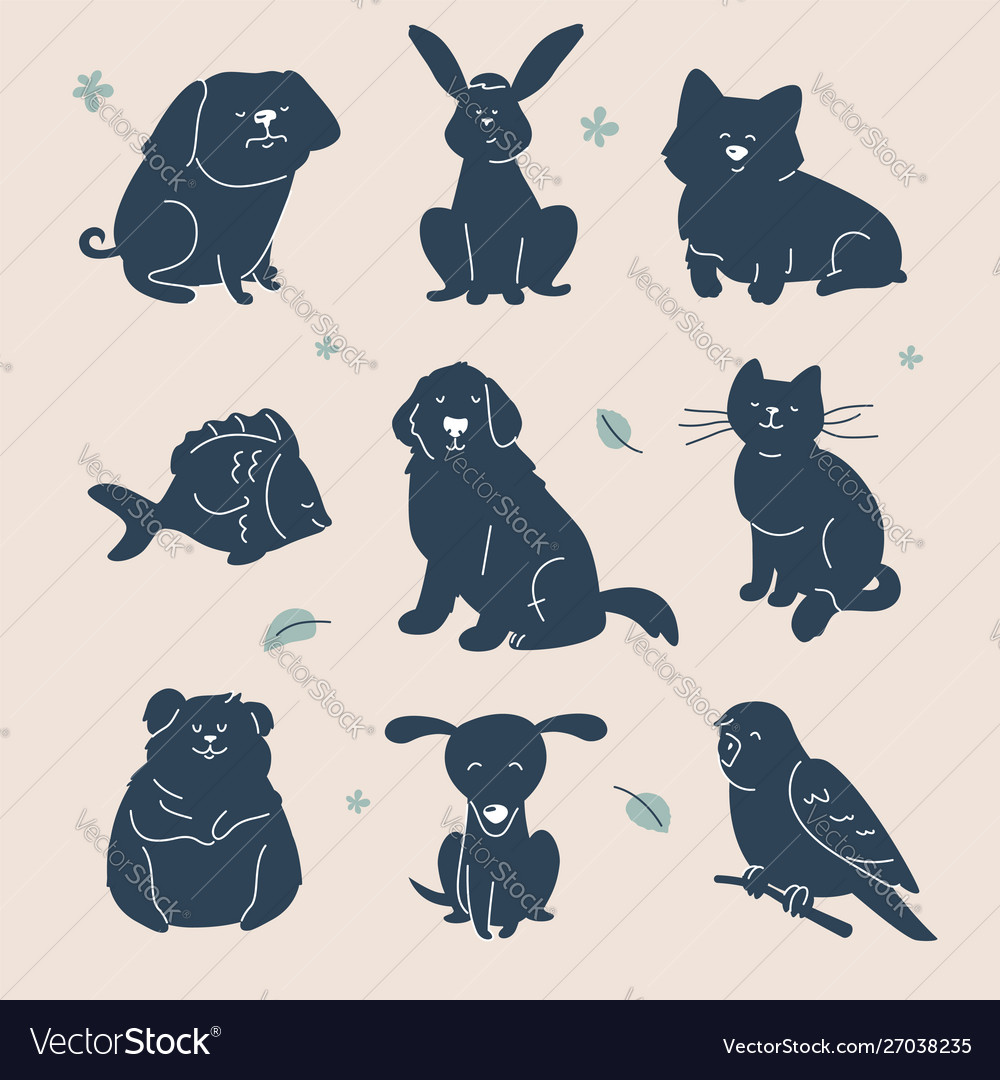 Guess animal - set characters silhouettes