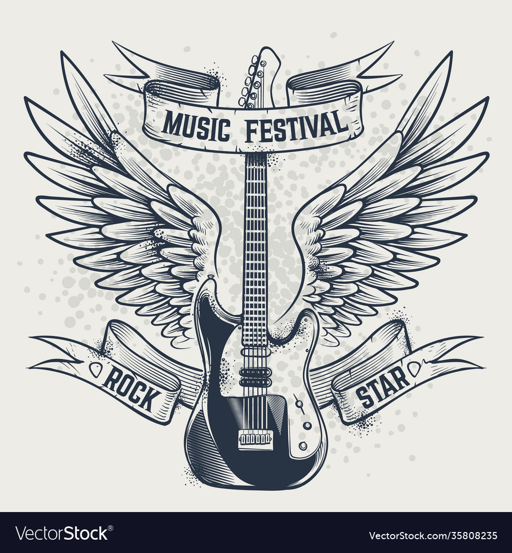 Guitar with wings electric and angel