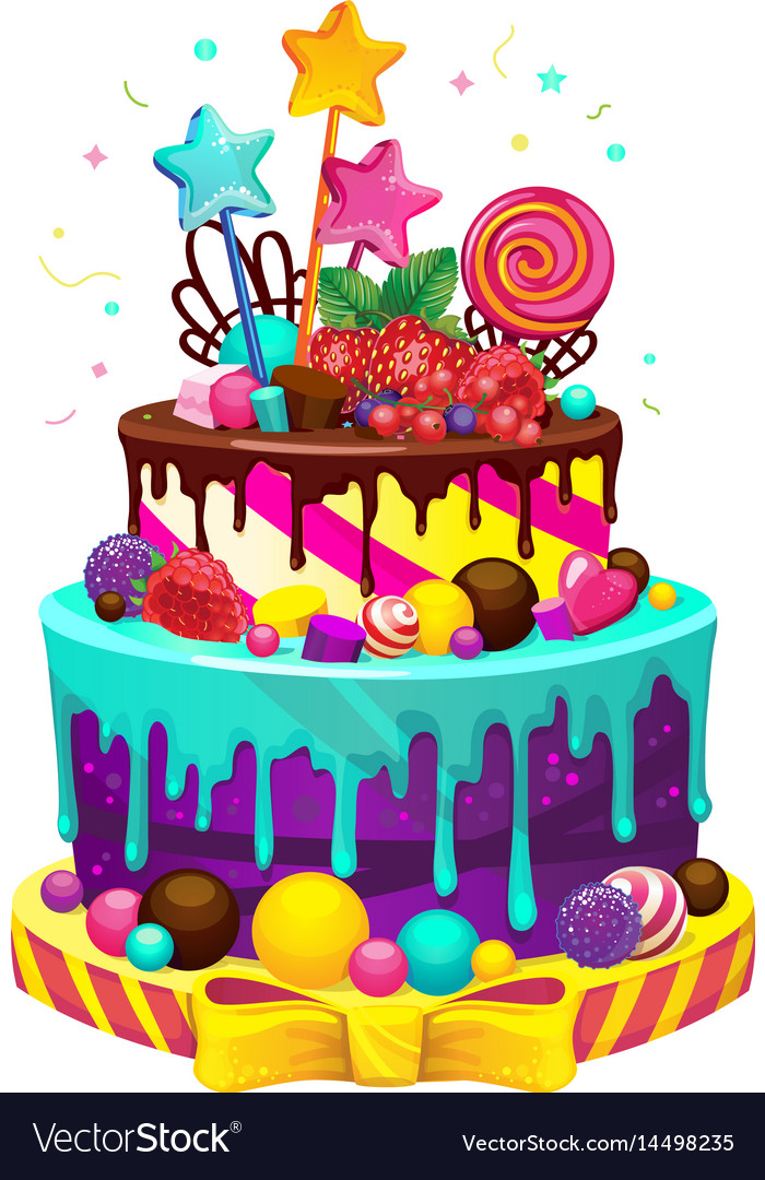 Brilliant Happy Birthday Cake Royalty Free Vector Image Vectorstock Funny Birthday Cards Online Alyptdamsfinfo