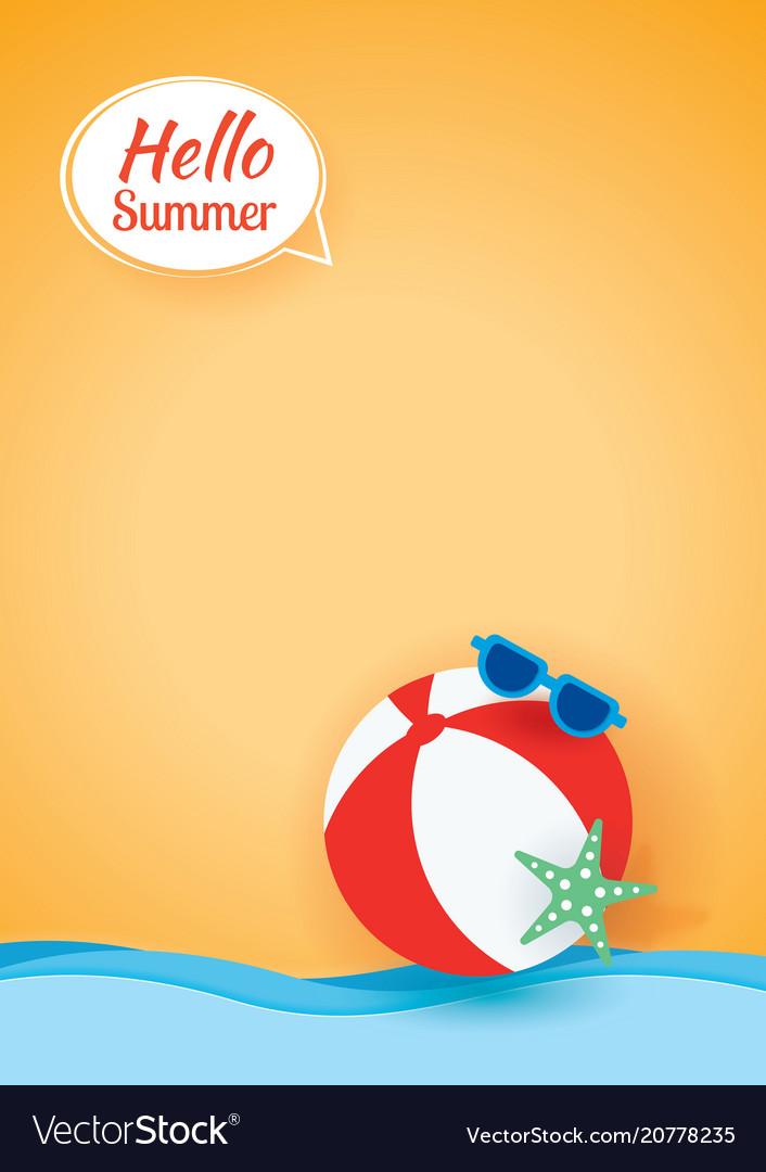 Hello summer card banner with beach ball paper