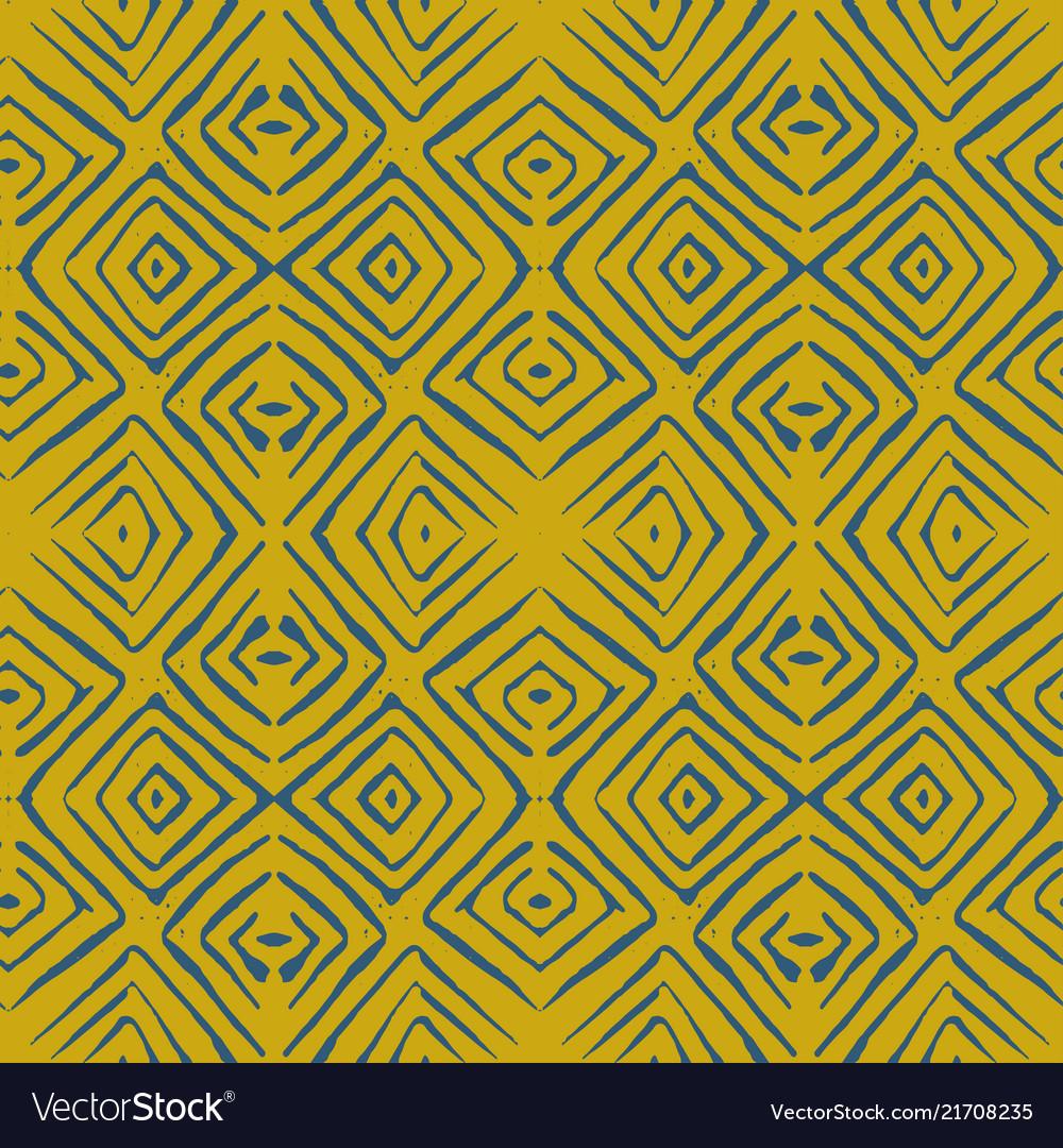 Linocut rhombus tile blue seamless pattern