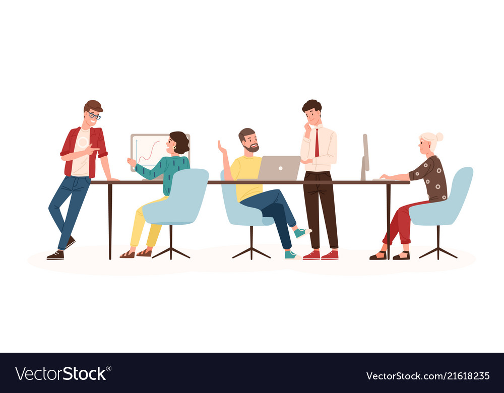 Men and women sitting at desk and standing in