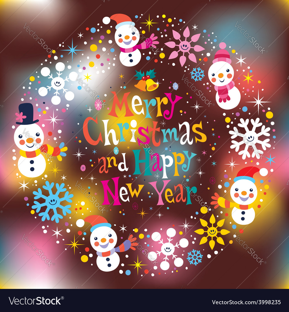 merry christmas and happy new year greeting card 2 vector image