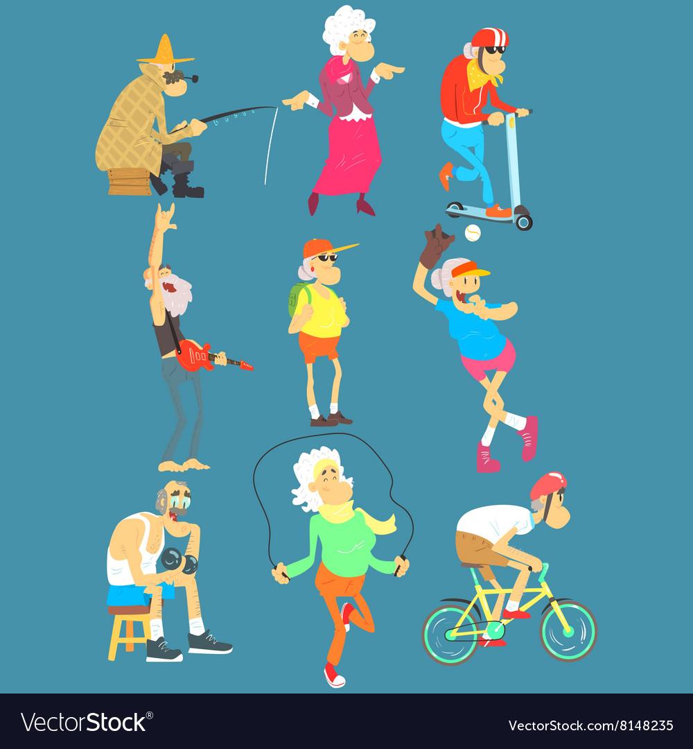 Old People Activities Set