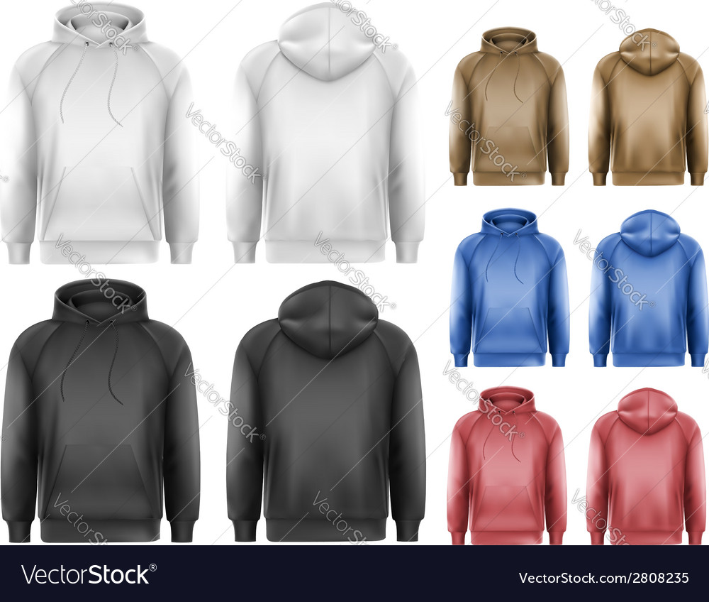 Set of black and white and colorful male hoodies