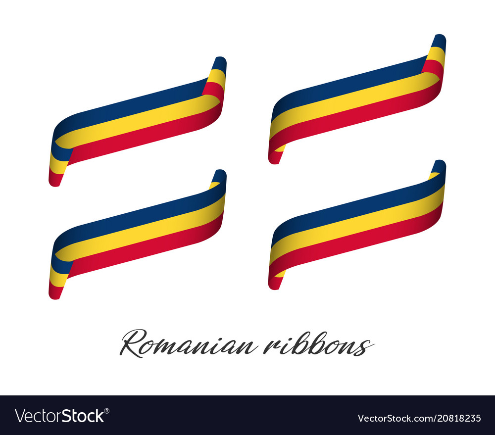 Set of four modern colored romanian ribbons