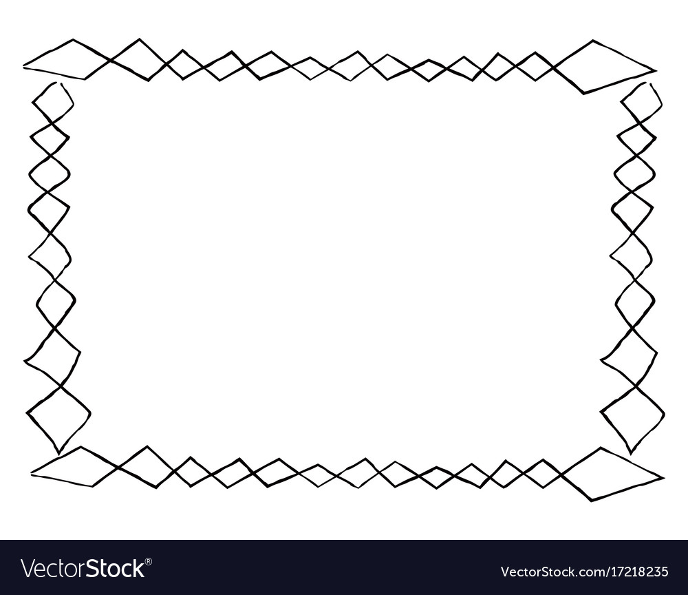 Simple frame with square doodles rectangular shape