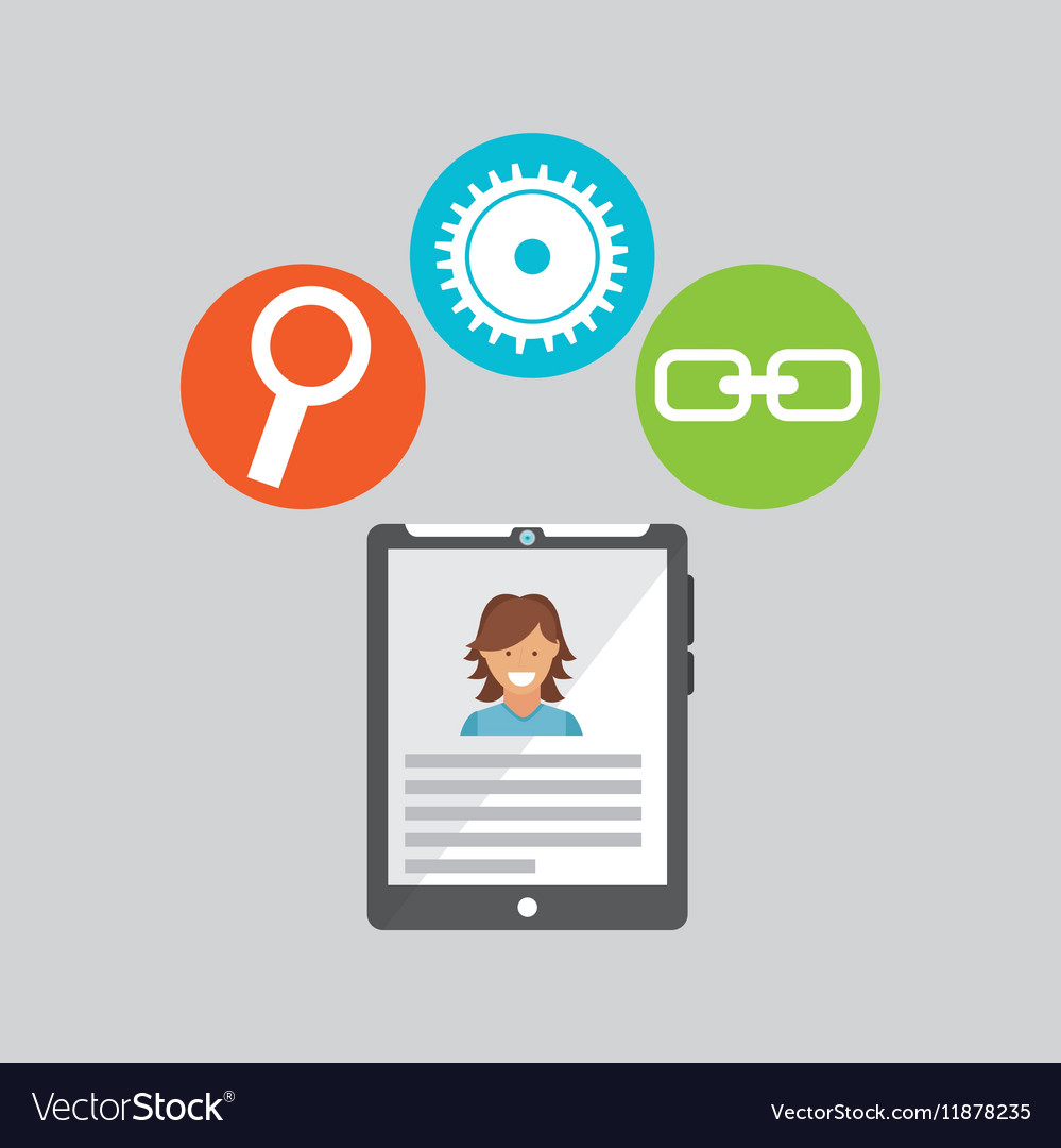 Tablet technology social media concept vector image
