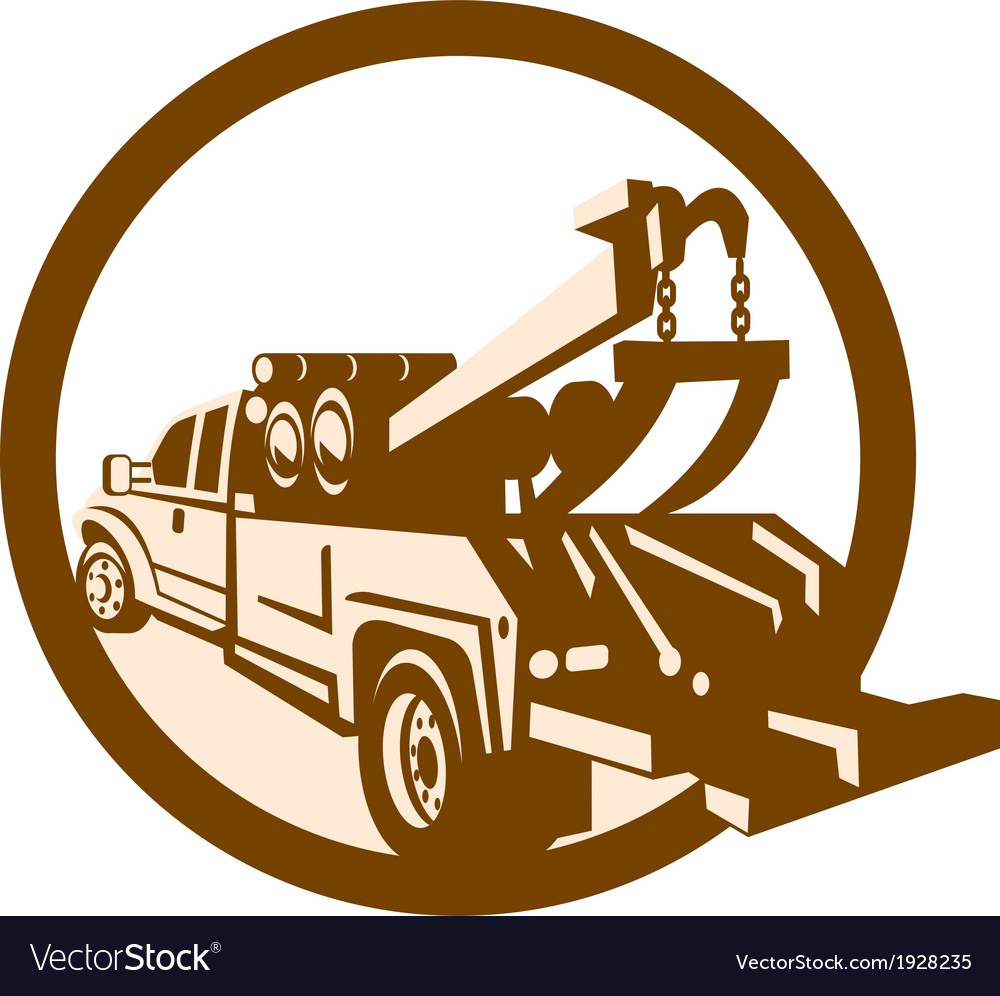 Tow Truck Wrecker Rear Retro vector image