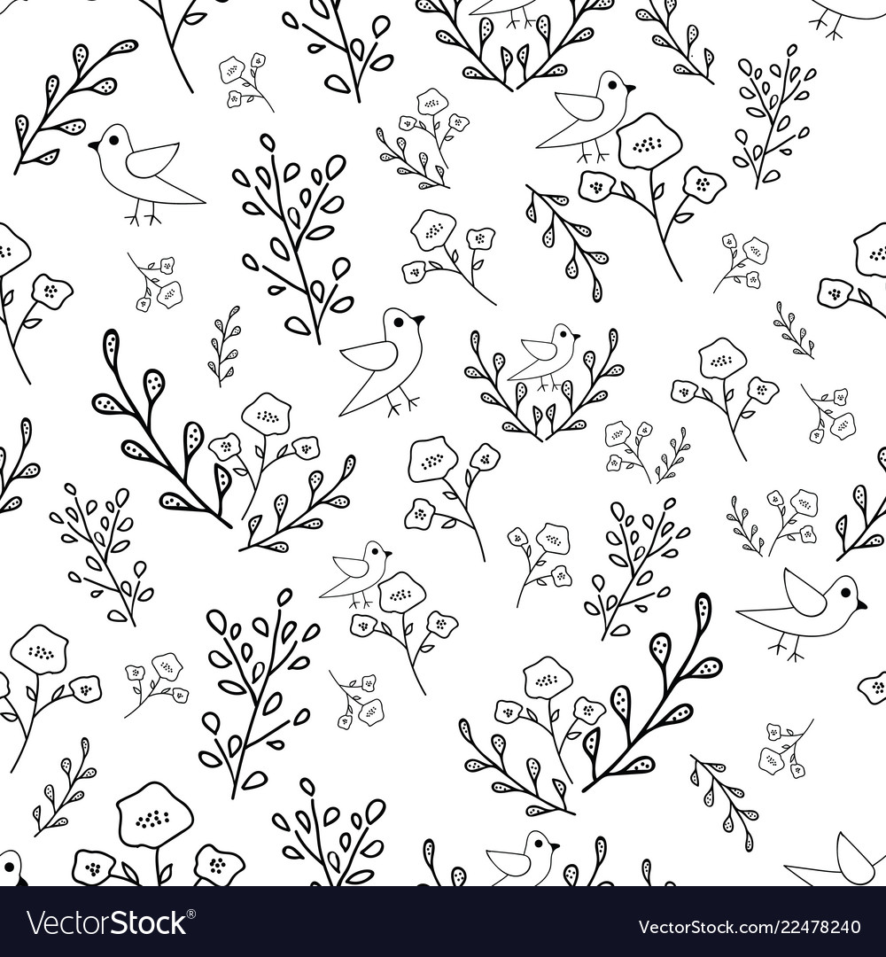 Black And White Hand Drawn Flowers And Birds Vector Image