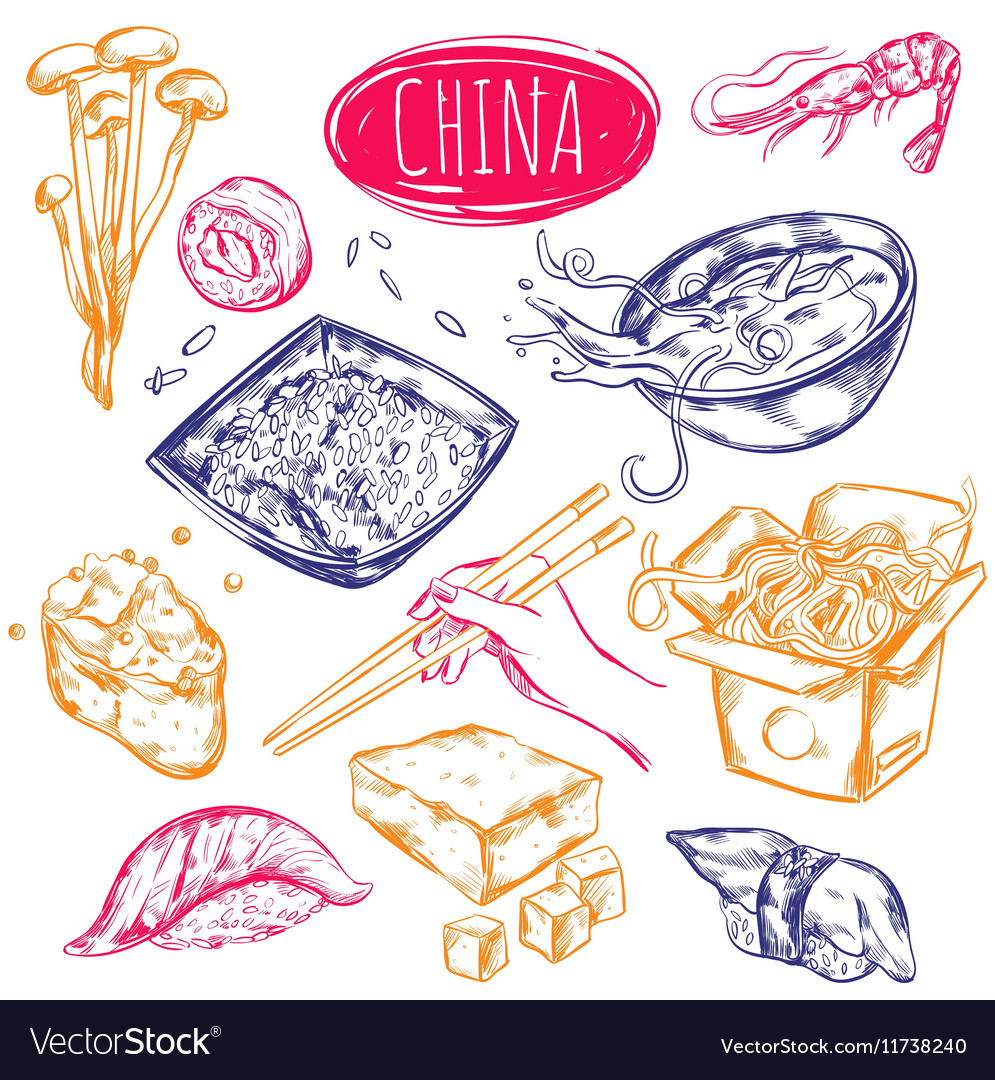 China Food Sketch Set vector image