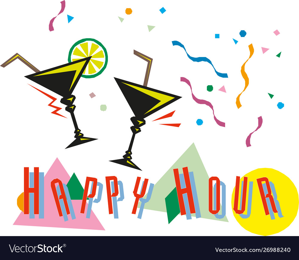 Classic style happy hour cocktail banner