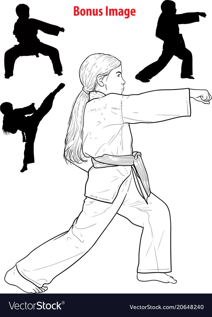 Girl practicing karate