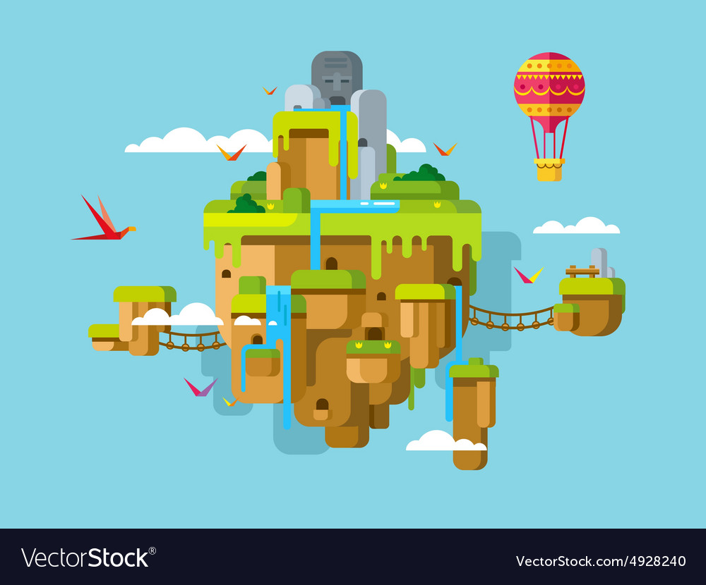 Imaginary Soaring Island on a Blue Sky Background vector image