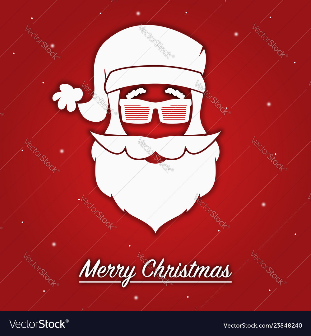 Merry christmas card with santa claus in glasses