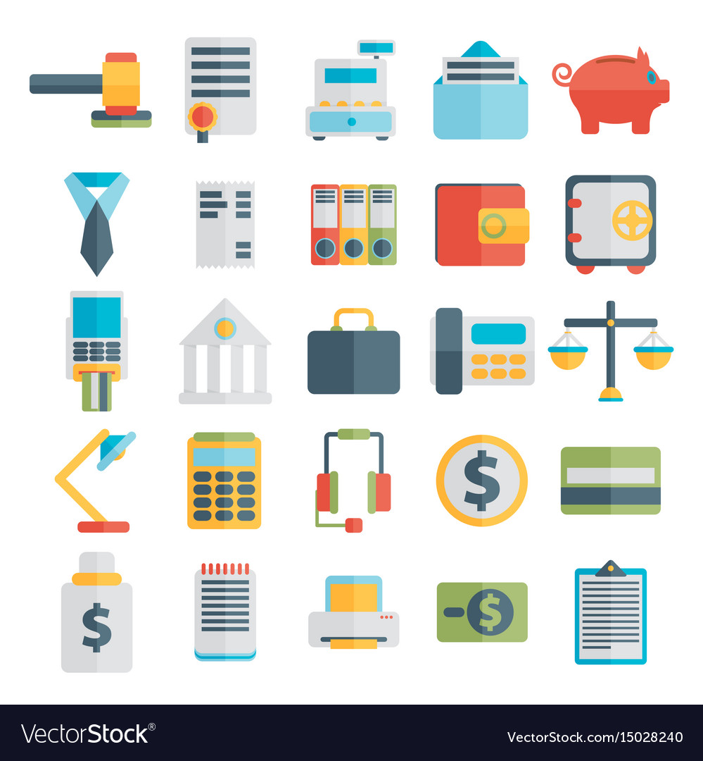 Modern design flat icon set style of financial